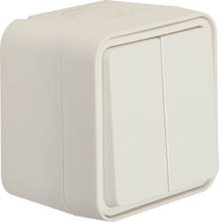 50753512 Series push-button,  2 change-over contacts surface-mounted,  isolated input terminals Berker W.1, polar white matt