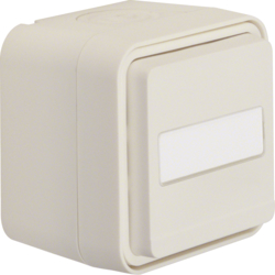 50763552 Push-button,  change-over contact surface-mounted with labelling field - illuminated,  Berker W.1, polar white matt