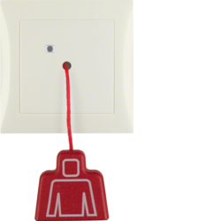 52028982 Pullcord push-button with frame Berker S.1, white glossy