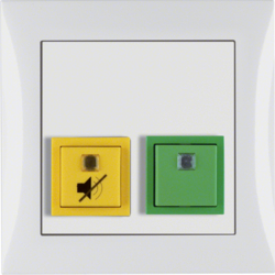 52058989 Cancellation/presence button with frame Berker S.1, polar white glossy