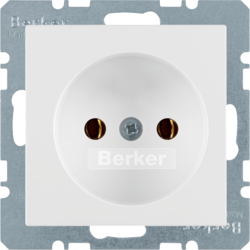 6161036089 Socket outlet without earthing contact with screw terminals,  Berker Q.1/Q.3, polar white velvety