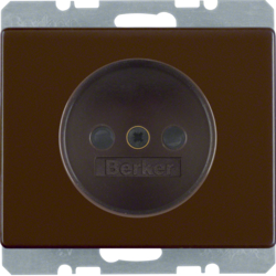 6161150101 Socket outlet without earthing contact with enhanced touch protection,  with screw terminals,  Berker Arsys,  brown glossy
