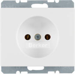 6161150169 Socket outlet without earthing contact with enhanced touch protection,  with screw terminals,  Berker Arsys,  polar white glossy
