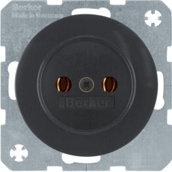 6167032045 Socket outlet without earthing contact Berker R.1/R.3/R.8, black glossy