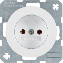 6167032089 Socket outlet without earthing contact Berker R.1/R.3/R.8, polar white glossy