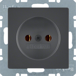 6167036086 Socket outlet without earthing contact Berker Q.1/Q.3/Q.7/Q.9, anthracite velvety,  lacquered