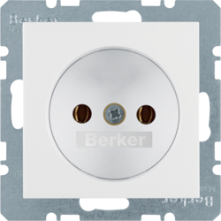 6167038989 Socket outlet without earthing contact Berker S.1/B.3/B.7, polar white glossy