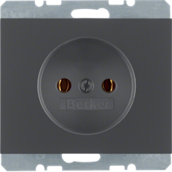 6167157006 Socket outlet without earthing contact Berker K.1, anthracite matt,  lacquered