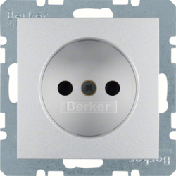 6167331404 Socket outlet without earthing contact with enhanced touch protection,  Berker S.1/B.3/B.7, aluminium,  matt,  lacquered