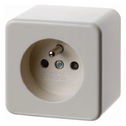 67600640 Socket outlet with earthing pin surface-mounted with enhanced touch protection,  Screw terminals,  Surface-mounted,  white glossy