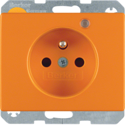 6765090077 Socket outlet with earth contact pin and monitoring LED with enhanced touch protection,  Screw-in lift terminals,  Berker Arsys,  orange glossy
