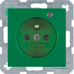 6765091913 Socket outlet with earth contact pin and monitoring LED with enhanced touch protection,  Screw-in lift terminals,  Berker S.1/B.3/B.7, green matt