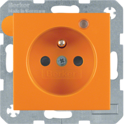 6765091914 Socket outlet with earth contact pin and monitoring LED with enhanced touch protection,  Screw-in lift terminals,  Berker S.1/B.3/B.7, orange matt