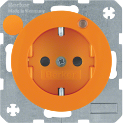 6765092007 Socket outlet with earthing pin and control LED with enhanced touch protection,  Screw-in lift terminals,  Berker R.1/R.3/R.8, orange glossy