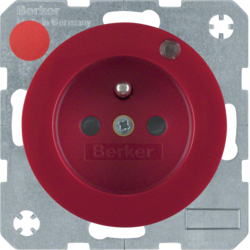 6765092022 Socket outlet with earthing pin and control LED with enhanced touch protection,  Screw-in lift terminals,  Berker R.1/R.3, red glossy