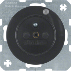 6765092045 Socket outlet with earthing pin and control LED with enhanced touch protection,  Screw-in lift terminals,  Berker R.1/R.3, black glossy