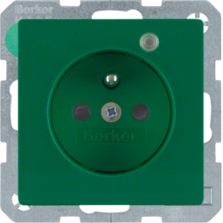 6765096013 Socket outlet with earth contact pin and monitoring LED with enhanced touch protection,  Screw-in lift terminals,  green velvety