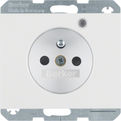 6765097009 Socket outlet with earth contact pin and monitoring LED with enhanced touch protection,  Screw-in lift terminals,  Berker K.1, polar white glossy