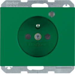 6765097013 Socket outlet with earth contact pin and monitoring LED with enhanced touch protection,  Screw-in lift terminals,  Berker K.1, green glossy