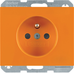 6765097014 Socket outlet with earth contact pin and monitoring LED with enhanced touch protection,  Screw-in lift terminals,  Berker K.1, orange glossy