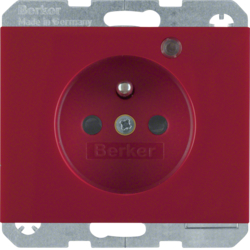 6765097015 Socket outlet with earth contact pin and monitoring LED with enhanced touch protection,  Screw-in lift terminals,  Berker K.1, red glossy