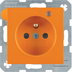 6765098914 Socket outlet with earth contact pin and monitoring LED with enhanced touch protection,  Screw-in lift terminals,  Berker S.1/B.3/B.7, orange glossy