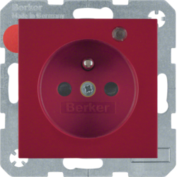 6765098915 Socket outlet with earth contact pin and monitoring LED with enhanced touch protection,  Screw-in lift terminals,  Berker S.1/B.3/B.7, red glossy