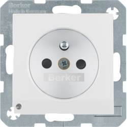 6765101909 Socket outlet with earthing pin and LED orientation light enhanced contact protection,  Screw-in lift terminals,  Berker S.1/B.3/B.7, polar white matt