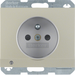 6765107004 Socket outlet with earthing pin and LED orientation light enhanced contact protection,  Screw-in lift terminals,  Berker K.5, stainless steel matt,  lacquered