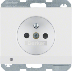 6765107009 Socket outlet with earthing pin and LED orientation light enhanced contact protection,  Screw-in lift terminals,  Berker K.1, polar white glossy