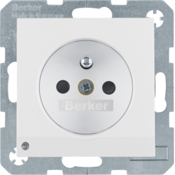 6765108989 Socket outlet with earthing pin and LED orientation light enhanced contact protection,  Screw-in lift terminals,  Berker S.1/B.3/B.7, polar white glossy