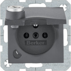 6765111606 Socket outlet with earthing pin and hinged cover with lock - differing lockings,  with screw-in lift terminals,  Berker B.3/B.7