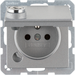6765116084 Socket outlet with earthing pin and hinged cover with lock - differing lockings,  with screw-in lift terminals,  Berker Q.1, aluminium,  matt,  lacquered