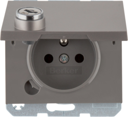 6765117004 Socket outlet with earthing pin and hinged cover with lock - differing lockings,  with screw-in lift terminals,  Berker K.1/K.5