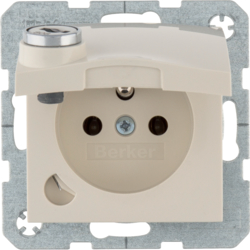 6765118982 Socket outlet with earthing pin and hinged cover with lock - differing lockings,  with screw-in lift terminals,  Berker S.1, white glossy