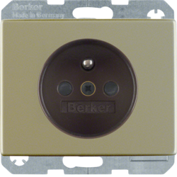 6765740001 Socket outlet with earthing pin with enhanced touch protection,  with screw-in lift terminals,  Berker Arsys,  light bronze matt,  aluminium lacquered