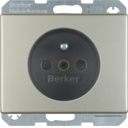 6765740004 Socket outlet with earthing pin with enhanced touch protection,  with screw-in lift terminals,  Berker Arsys,  stainless steel,  metal matt finish