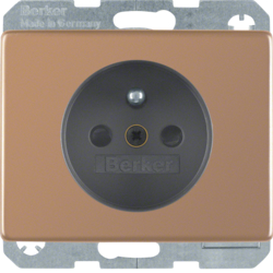 6765740007 Socket outlet with earthing pin with enhanced touch protection,  with screw terminals,  Berker Arsys Kupfer Med,  copper,  natural metal