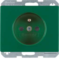 6765750063 Socket outlet with earthing pin with enhanced touch protection,  with screw-in lift terminals,  Berker Arsys,  green glossy
