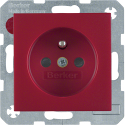 6765760062 Socket outlet with earthing pin with enhanced touch protection,  Screw-in lift terminals,  Berker S.1/B.3/B.7, red matt