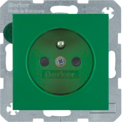 6765760063 Socket outlet with earthing pin with enhanced touch protection,  Screw-in lift terminals,  Berker S.1/B.3/B.7, green matt