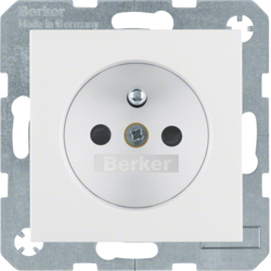 6765761909 Socket outlet with earthing pin with enhanced touch protection,  with screw-in lift terminals,  Berker S.1/B.3/B.7, polar white matt