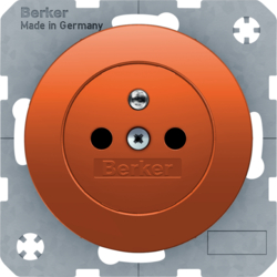 6765762007 Socket outlet with earthing pin with enhanced touch protection,  Screw-in lift terminals,  Berker R.1/R.3/R.8, orange glossy
