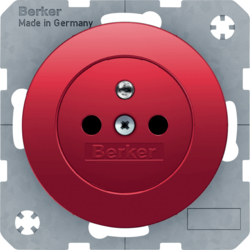 6765762022 Socket outlet with earthing pin with enhanced touch protection,  Screw-in lift terminals,  Berker R.1/R.3/R.8, red glossy