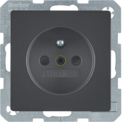 6765766086 Socket outlet with earthing pin with enhanced touch protection,  with screw-in lift terminals,  Berker Q.1/Q.3, anthracite velvety,  lacquered