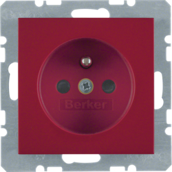 6765768962 Socket outlet with earthing pin with enhanced touch protection,  Screw-in lift terminals,  Berker S.1/B.3/B.7, red glossy