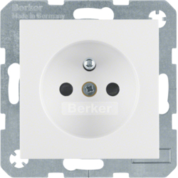 6765768989 Socket outlet with earthing pin with enhanced touch protection,  with screw-in lift terminals,  Berker S.1/B.3/B.7, polar white glossy