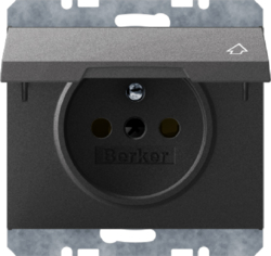6765777106 Socket outlet with earthing pin and hinged cover with enhanced touch protection,  with screw-in lift terminals,  Berker K.1, anthracite matt,  lacquered