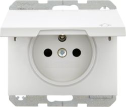 6765777109 Socket outlet with earthing pin and hinged cover with enhanced touch protection,  with screw-in lift terminals,  Berker K.1, polar white glossy