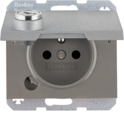 6768117003 Socket outlet with earthing pin and hinged cover with lock - differing lockings,  Berker K.1/K.5, aluminium,  matt,  lacquered